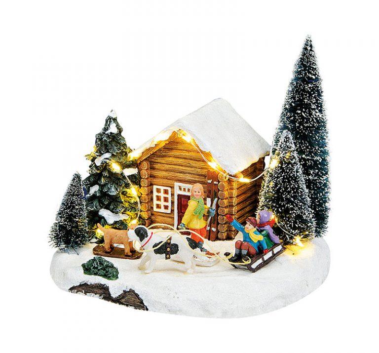Waldhütte-mit-Schlittenkindern-und-LED-Beleuchtung